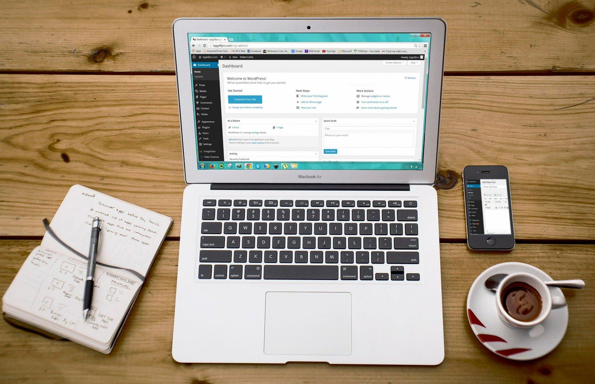 laptop showing wordpress admin dashboard